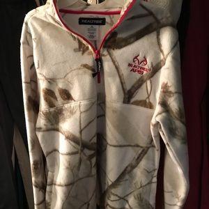 Real tree 3/4 zip cream/pink camouflage fleece